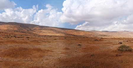 judean hills: Landscape of southern slopes of Hebron mountain at the edge of Negev desert in Israel Stock Photo