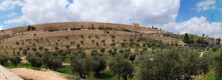 Panorama of Kidron Valley and the Temple Mount in Jerusalem Stock Photo