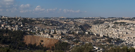 Panorama of Jerusalem with Temple Mount in the evening photo