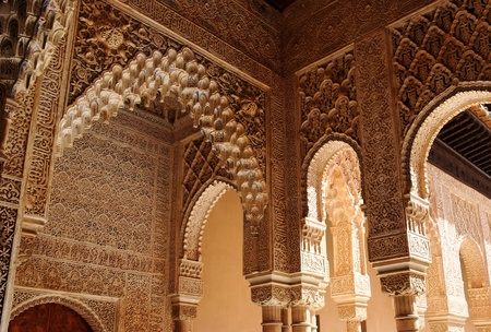 Beautiful carved columns in Alhambra palace in Granada, Spain Stock Photo - 11185923