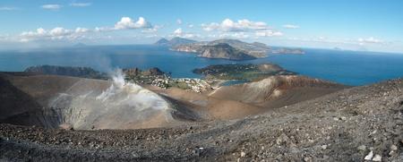 Aeolian islands seen from the Grand crater of Vulcano island near Sicily, Italy photo