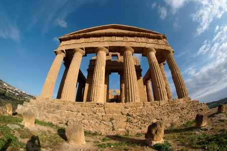 Fisheye view of Concordia temple in Agrigento, Sicily, Italy photo