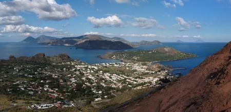 vulcano: Aeolian islands seen from volcano slope on Vulcano island, Sicily, Italy Stock Photo