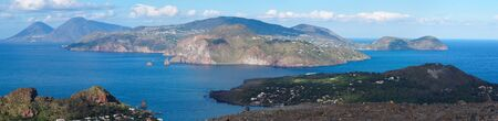 Aeolian islands seen from volcano slope on Vulcano island, Sicily, Italy Stock Photo