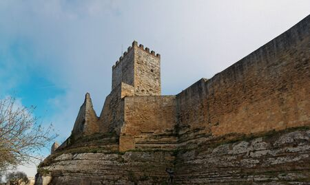 crenellated tower: Castello di Lombardia medieval castle in Enna, Sicily, Italy