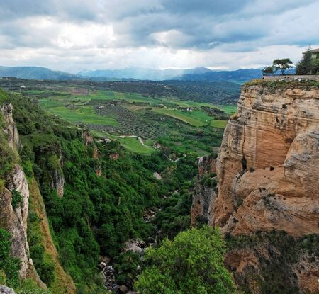 Scenic gorge in Ronda town, Andalusia, Spain