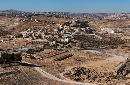 judea: Excavations and Arab village at the place of ancient King Herod palace in Herodion