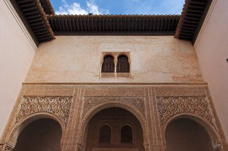 Courtyard in Alhambra palace in Granada, Spain