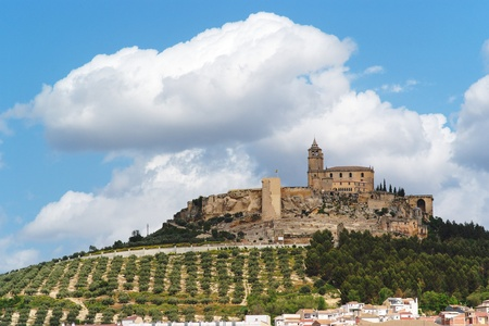Medieval La Mota castle on the hill above Alcalá la Real town in Andalusia, Spain Stock Photo