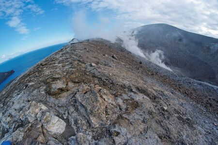 effusion: Fisheye view of Grand (Fossa) crater of Vulcano island near Sicily, Italy