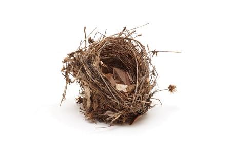 bird house: Empty small bird nest isolated on white background Stock Photo