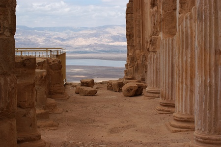 Ruins of ancient colonnade of King Herod photo