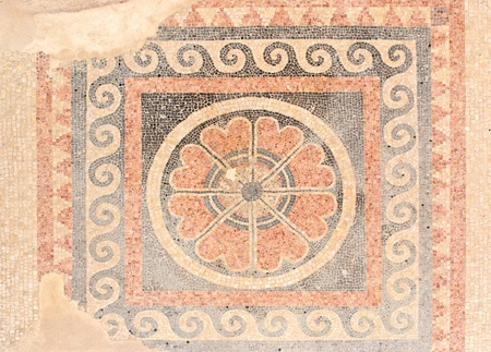 Ancient mosaic floor from  King Herod palace in Masada  Stock Photo