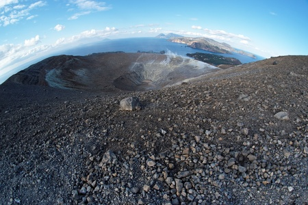 Fisheye view of Grand  Fossa  crater of Vulcano island near Sicily, Italy photo