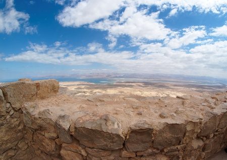 Desert landscape near the Dead Sea seen from Masada fortress photo