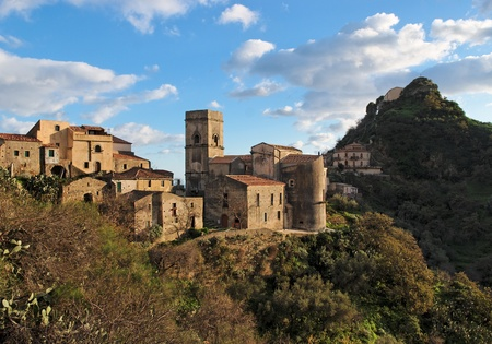 Medieval village of Savoca in Sicily, Italy, at sunset Stock Photo