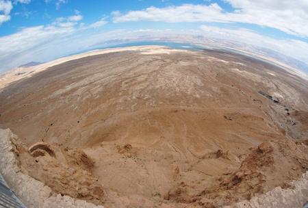 Fisheye view of desert landscape near the Dead Sea seen from Masada fortress photo