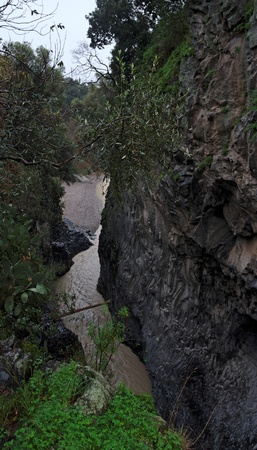 Alcantara river gorge in Sicily, Italy photo