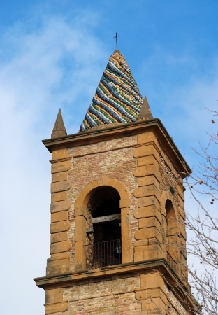 Church belfry with colorful conical roof in Piazza Armerina, Sicily, Italy Stock Photo - 13836224