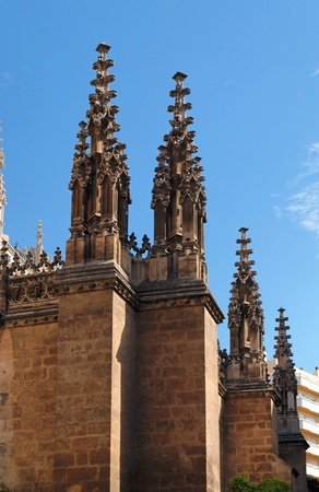 steeples: Gothic steeples on the cathedral of Granada, Spain