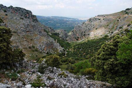 mirador: Rocky gorge Mirador de Bailon near Zuheros  in Spain in cloudy day