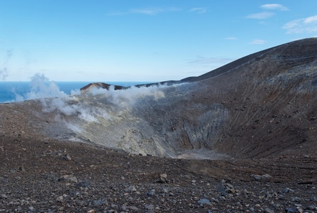 effusion: Grand  Fossa  crater of Vulcano island near Sicily, Italy