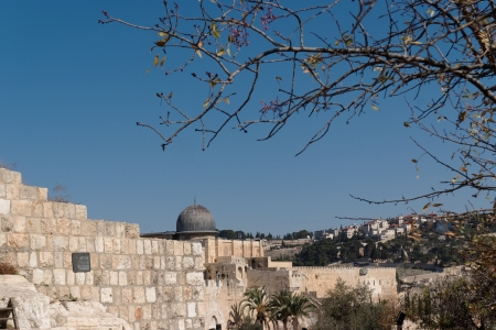Temple Mount in Jerusalem, with Al-Aqsa Mosque and Old City wall photo
