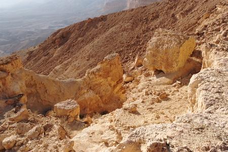 canyon negev: Scenic orange rocks in desert canyon  Small Crater, or Makhtesh Katan in Negev desert, Israel