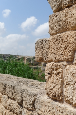 nahal: Ancient weathered stone wall in Nahal Taninim archeological park in Israel Stock Photo