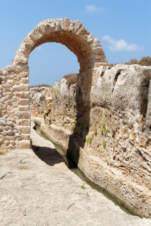 nahal: Ancient irrigation ditch and arch in Nahal Taninim archeological park in Israel Stock Photo