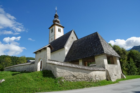 st  john: Church of St John the Baptist, Bohinj Lake, Slovenia  Stock Photo