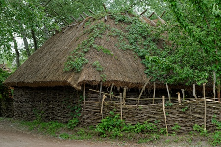 Traditional farmers barn under the thatch roof in open air museum, Kiev, Ukraine photo