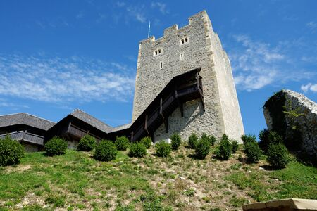 roofed house: Keep tower of Celje medieval castle in Slovenia Editorial