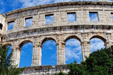 roman amphitheater: Detail of ancient Roman amphitheater in Pula, Croatia