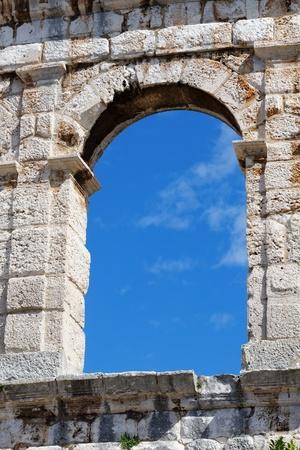 roman amphitheater: Window of ancient Roman amphitheater in Pula, Croatia
