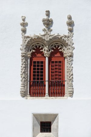 sumptuous: Sumptuous Manuelino-style window of Sintra Palace in Portugal Stock Photo