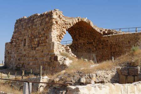 Ruin of ancient arch or vault of medieval Kerak castle in Jordan