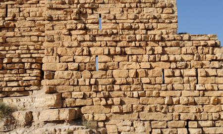 Ancient wall of medieval Kerak castle in Jordan 写真素材