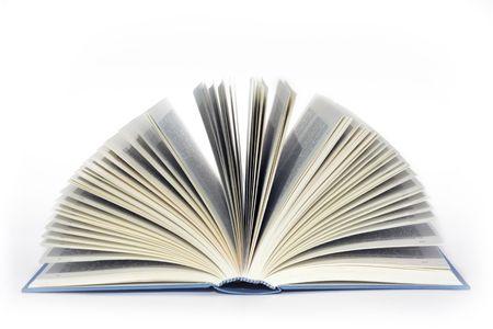 prosa: libro aperto su sfondo bianco Archivio Fotografico