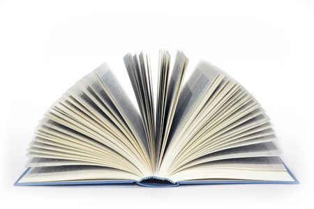 prose: open book on white background