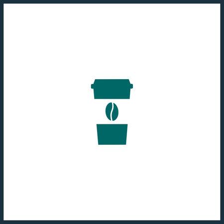 Coffee cup simple icon. Disposable cup vector icon. Take away coffee cup icon Vektoros illusztráció
