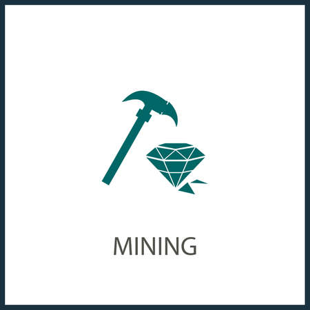 Ethereum Mining Hammer simple vector icon. Mining Hammer isolated icon.