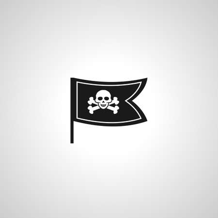Pirate flag simple vector icon. skull crossbones icon