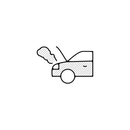 broken Car vector thin line icon. broken Car Hand Drawn thin line icon.