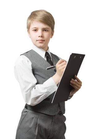 Schoolboy with clipboard photo