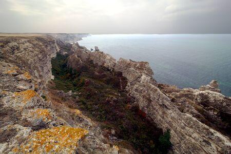 Ridge of rocks and sea, Crimea, Ukraine. Landscape photo
