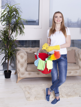 Smiling woman housewife with bucket and cleaning things Standard-Bild