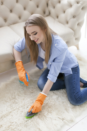 Attractive woman housewife cleans carpet with brush Standard-Bild