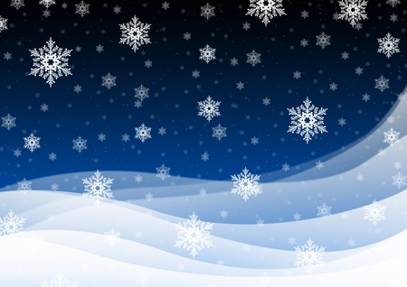 silent night: Snowflakes in the blue, a quiet, the night sky