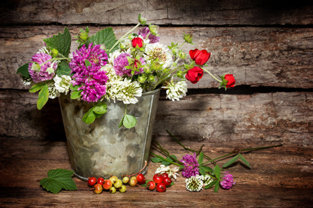 still life: still life with wild flowers and red currants on a wooden background